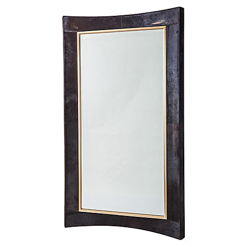 Curved Oversize Wall Mirror, Black Hair-On Hide