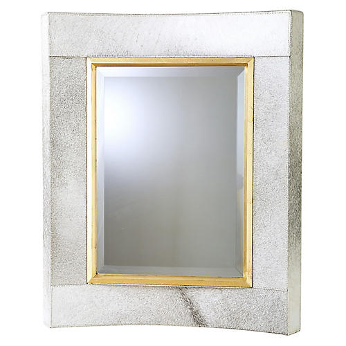 Curved Wall Mirror, White Hair-On Hide