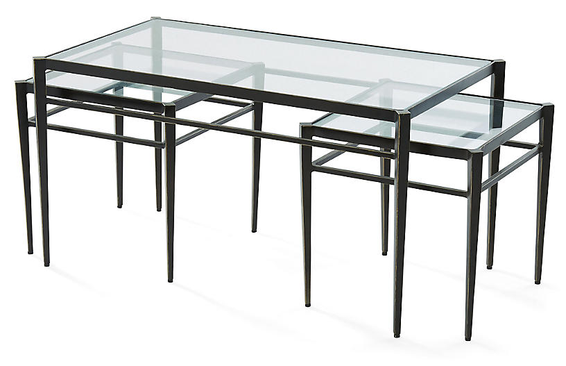Asst. of 3 Lescot Nesting Tables, Gunmetal