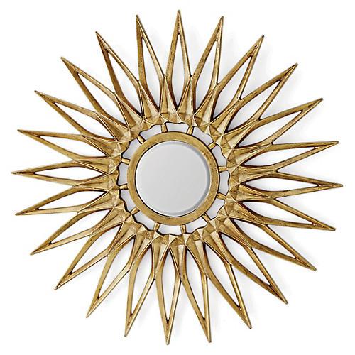 Dahlia Wall Mirror, Brass