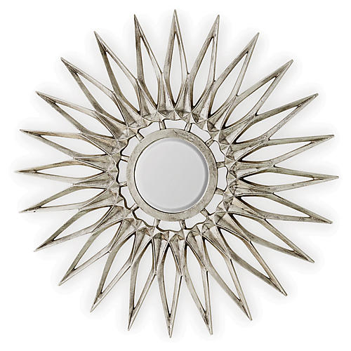 Dahlia Wall Mirror, Nickel