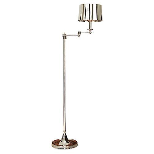 Swing-Arm Floor Lamp, Polished Nickel