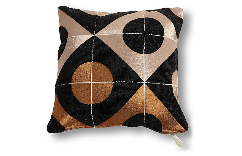 Marquee 20x20 Pillow, Bronze/Black