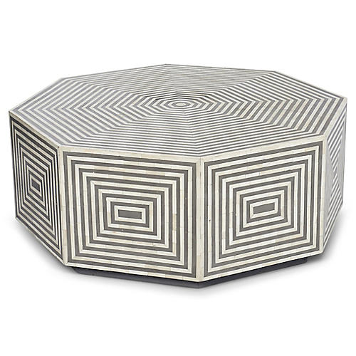 Felicity Octagonal Coffee Table, Gray/Ivory