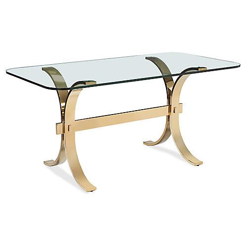 Oriamna Desk, Clear/Brass