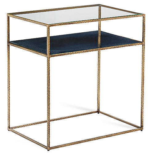 Maci Side Table, Antiqued Brass/Cobalt
