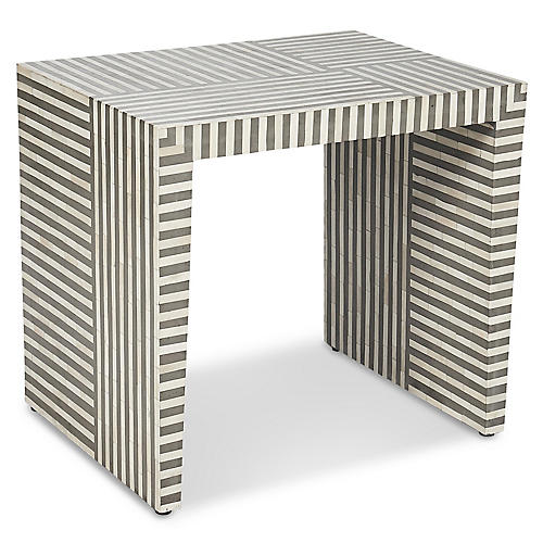 Felicity Side Table, Gray/Ivory