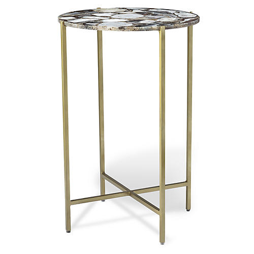 Leonie Round Side Table, Gray