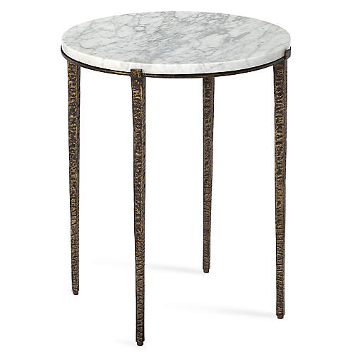 Juliana Round Side Table, White/Bronze