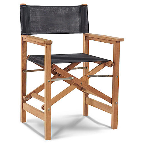 Teak Director's Chair, Black