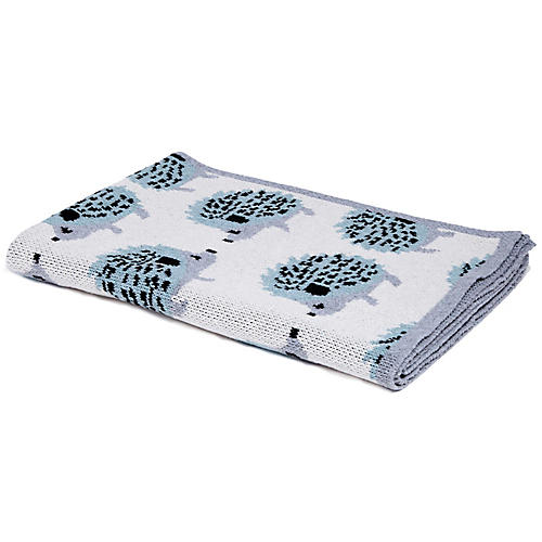 Hedgehog Baby Blanket, Blue Pond