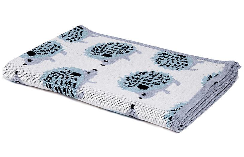 Hedgehog Baby Blanket, Blue Pond