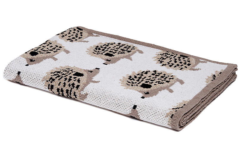Hedgehog Baby Blanket, Flax