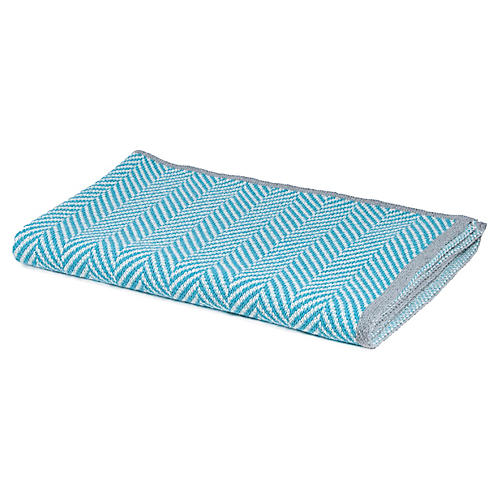 Herringbone Baby Blanket, Aqua