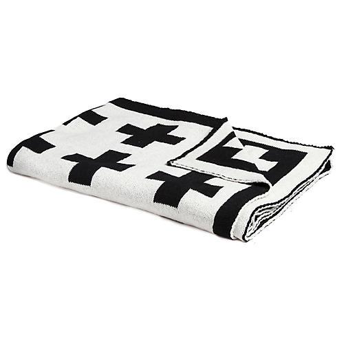Swiss Cross Baby Blanket, Black