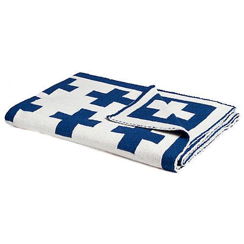 Swiss Cross Baby Blanket, Cobalt