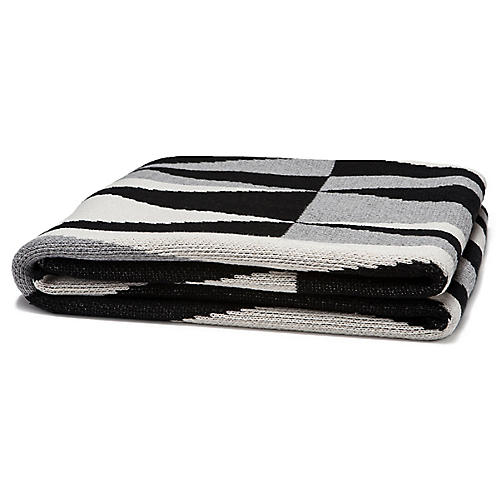 Right Angles Outdoor Throw, Slate/Black