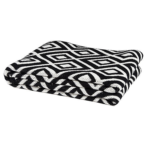 Mod Square Outdoor Throw, Black