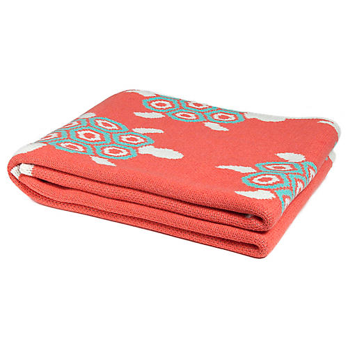 Turtles Outdoor Throw, Coral/Seafoam