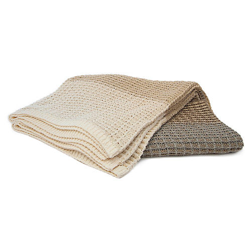 Stitch Stripe Throw, Natural
