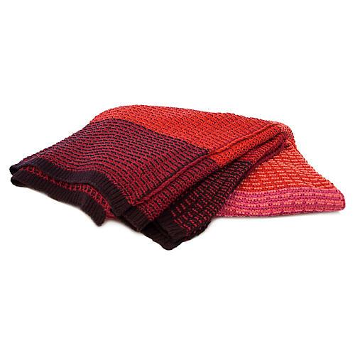 Stitch Stripe Outdoor Throw, Red
