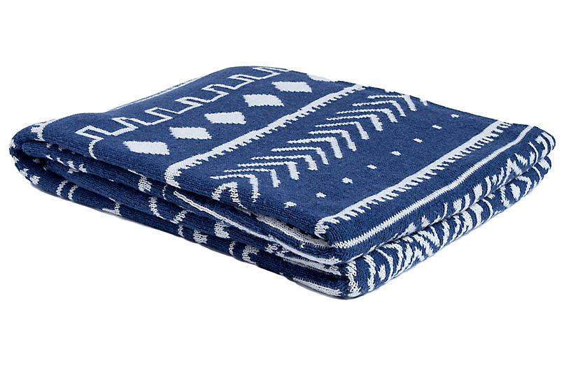 Mud-Cloth Throw, Cobalt