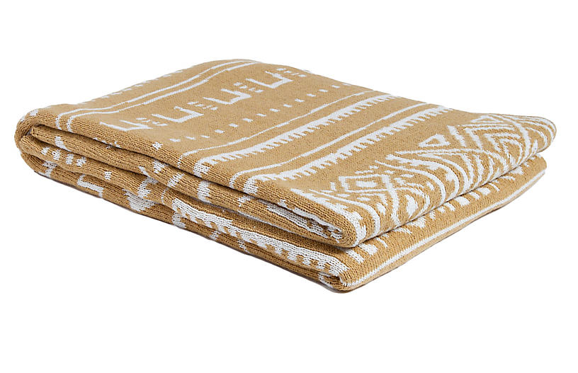 Mud-Cloth Throw, Straw