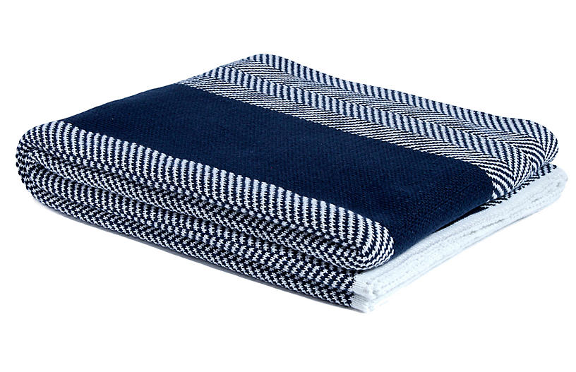 Herringbone Outdoor Throw, Navy