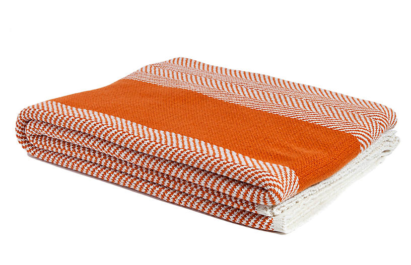 Herringbone Outdoor Throw, Orange