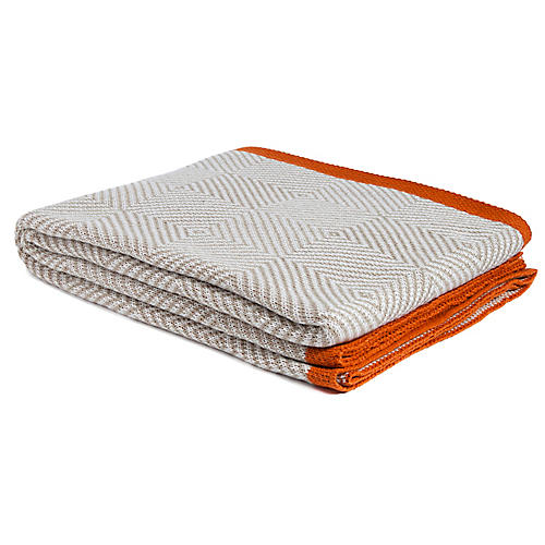 Woven Square Outdoor Throw, Tan/Orange