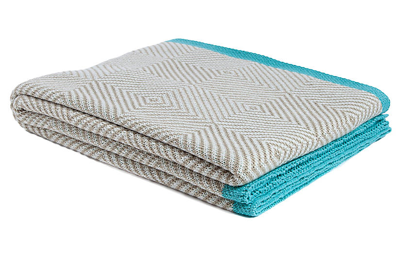 Woven Square Outdoor Throw, Tan/Teal