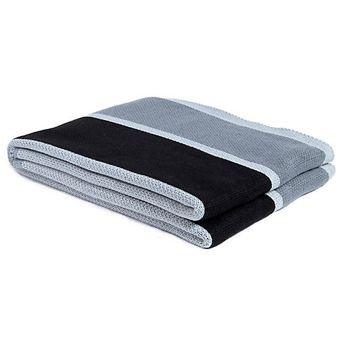 Cabana Stripe Outdoor Throw, Gray/Black