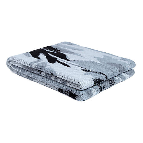 Brushstroke Outdoor Recycled Polyester Throw, Gray