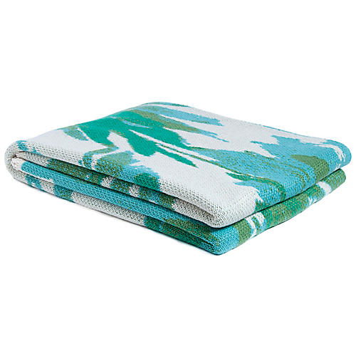 Brushstroke Outdoor Recycled Polyester Throw, Green