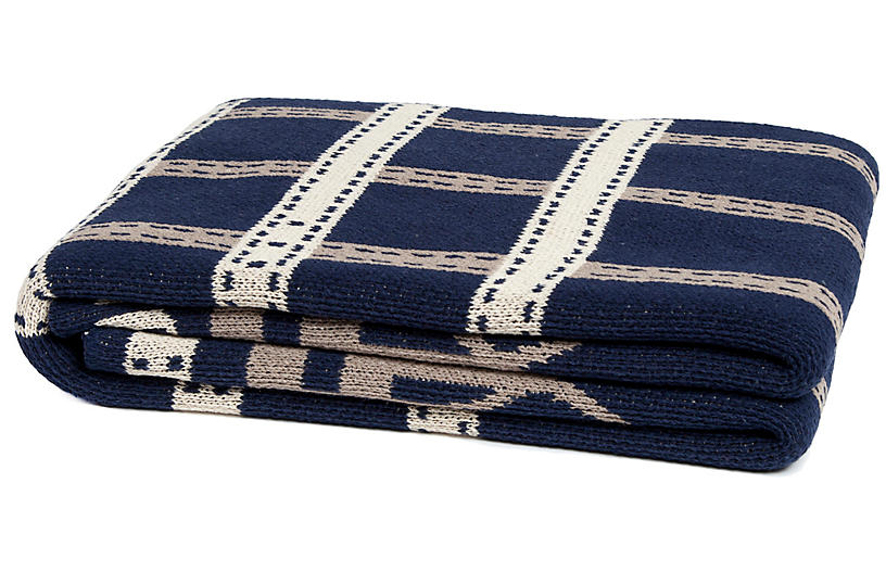 Stirrup Throw, Navy/Beige