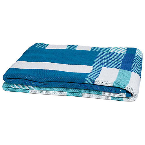 Mod Plaid Outdoor Throw, Teal/Multi
