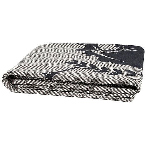 Horse Crest Throw, Charcoal