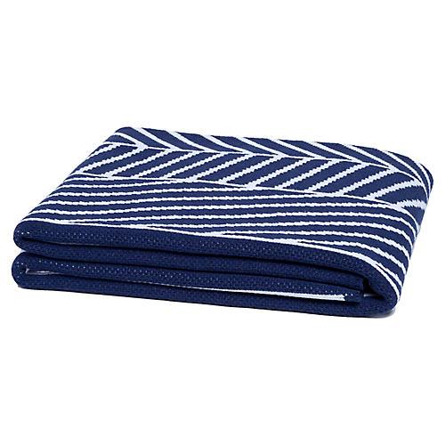Double Stripe Throw, Navy/White