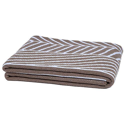 Double Stripe Throw, Tan/White
