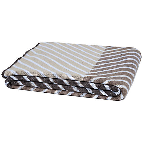 Zag Throw, Beige/Brown