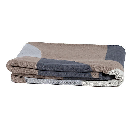 Semi Circle Throw, Beige/Gray