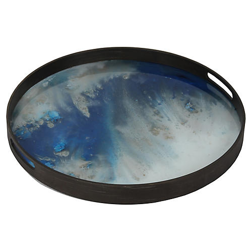"19"" Organic Mist Decorative Tray, Blue"