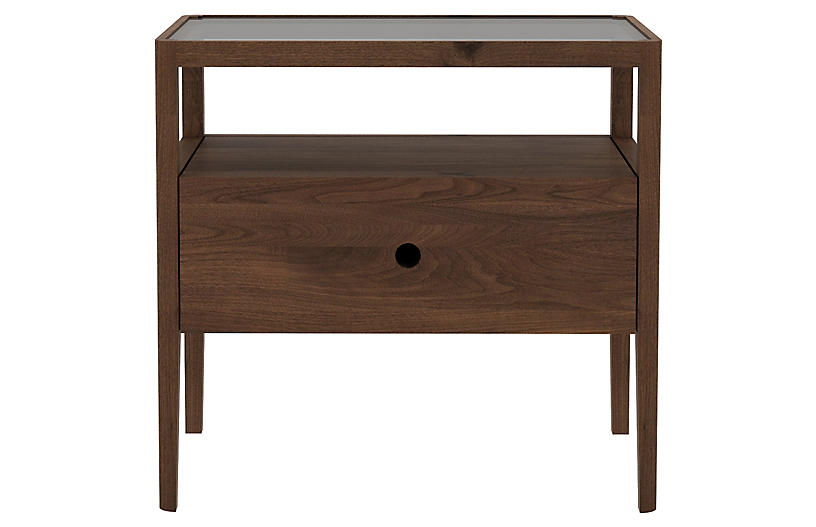 Spindle Nightstand, Walnut