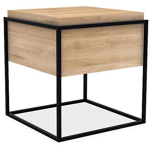 Monolit Storage Side Table, Black/Oak