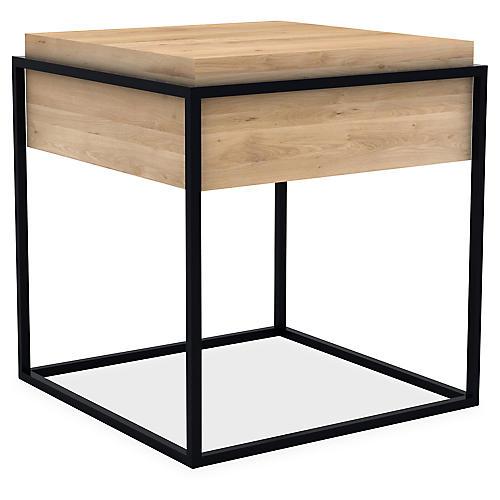 Monolit Small Storage Side Table, Black/Oak