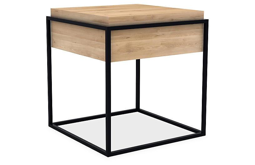 Ethnicraft Monolit Small Storage Side Table Black Oak One Kings Lane - Black Metal Narrow End Table