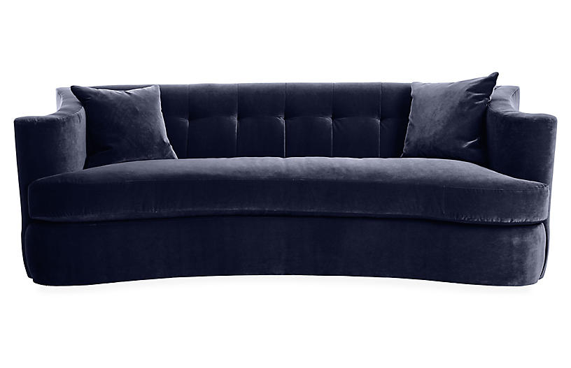 Maison Tufted Sofa, Navy Velvet
