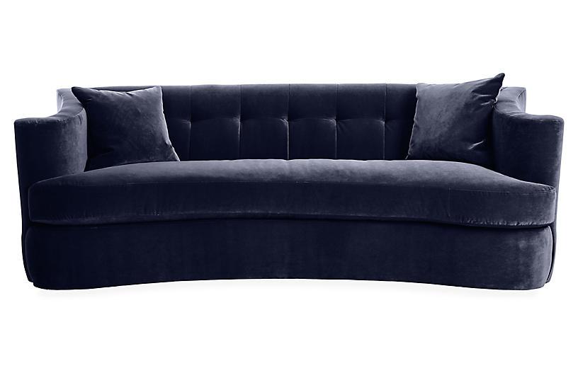 Maison Tufted Sofa, Navy Velvet