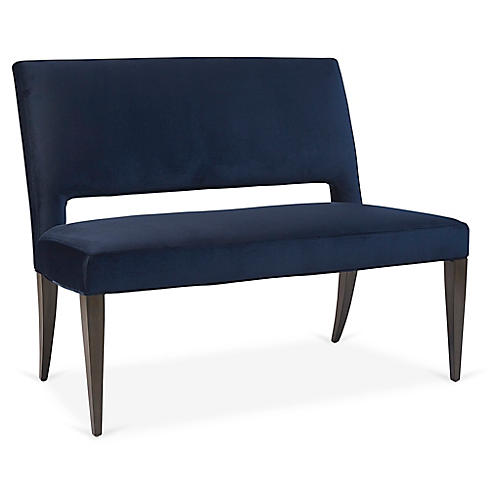 Tucker Bench, Navy Velvet