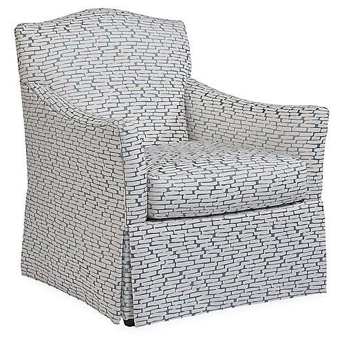 Florian Club Chair, Slate/Ivory